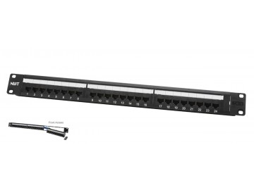 "24 Port Category 6 Patch Panel, Front Access, 19"" Rack Mount"