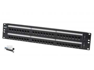 "48 Port Category 6 Patch Panel, Front Access, 19"" Rack Mount"