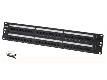 "48 Port Category 5E Patch Panel, Front Access, 19"" Rack Mount"