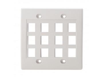 12 Port Flush Plate, Double Gang, NWT Design, White