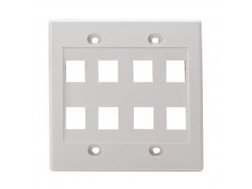 8 Port Flush Plate, Double Gang, NWT Design, White