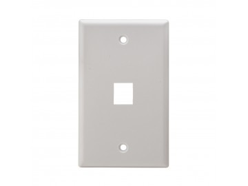 1 Port Flush Mount Keystone Plate, Smooth Type, White