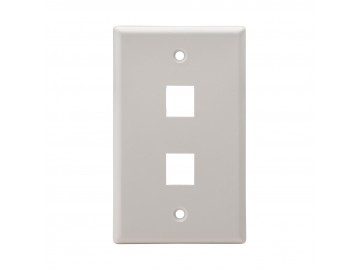 2 Port Flush Mount Keystone Plate, Smooth Type, White