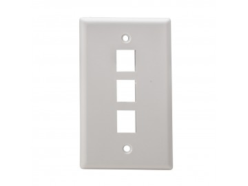 3 Port Flush Mount Keystone Plate, Smooth Type, White
