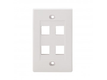 4 Port Flush Mount Keystone Plate, NWT Design, White