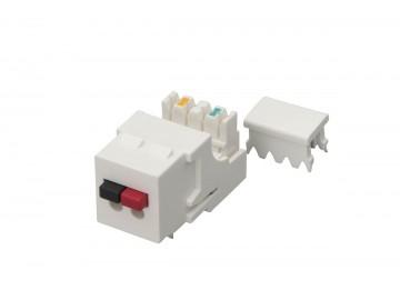 Audio Speaker (L+R) to IDC Keystone Insert, White