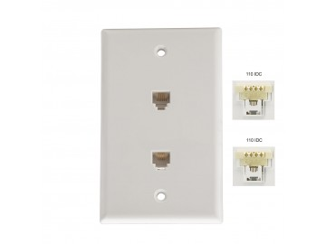 Duplex 4CX4C Quick Connect Flush Mount Jack, White