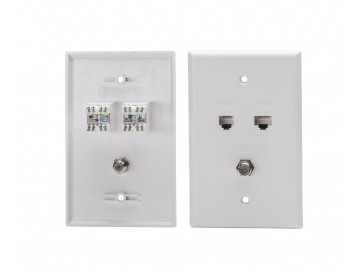 Combo Cat.6 + Voice 6C + F81 Flush Plate, Oversize, White