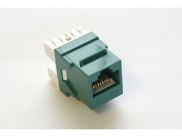 Cat. 6 Keystone Jack, 10 Gbps rated, 110 IDC, 180 deg., Green
