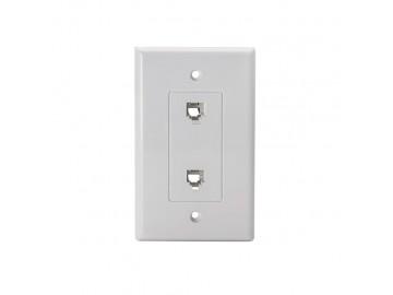 4CX4C Designer duplex flush mount jack, White
