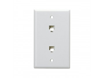 4CX4C Duplex smooth flush mount jack, White