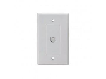 4C Designer Style Flush Mount Jack With Door, White